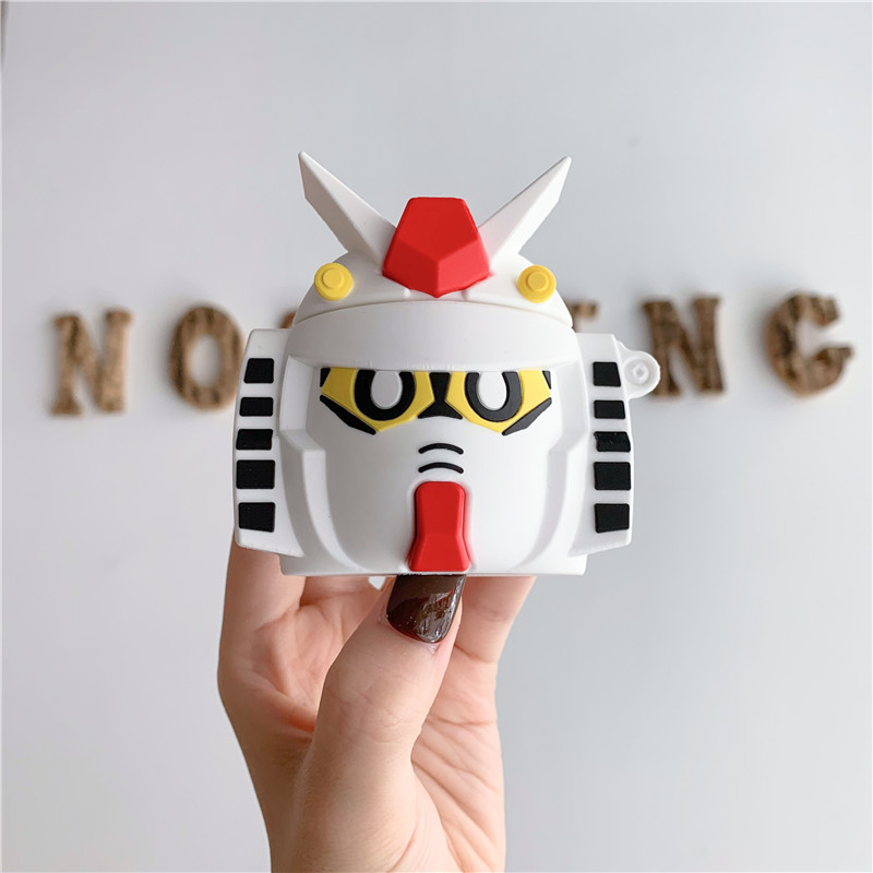 3D Cute Cartoon GUNDAM Mobile Suit Headphone Cases For Apple Bluetooth Headset Airpods 1 2 Silicone Protective Sleeve Skin Cover-in Earphone Accessories from Consumer Electronics