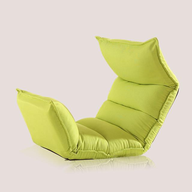 Cadeira Estofada moderna Sala de estar Sofá Reclinável Chaise Interior Piso 4 Cores Dia Sono Cama Cadeira Dobrável Ajustável