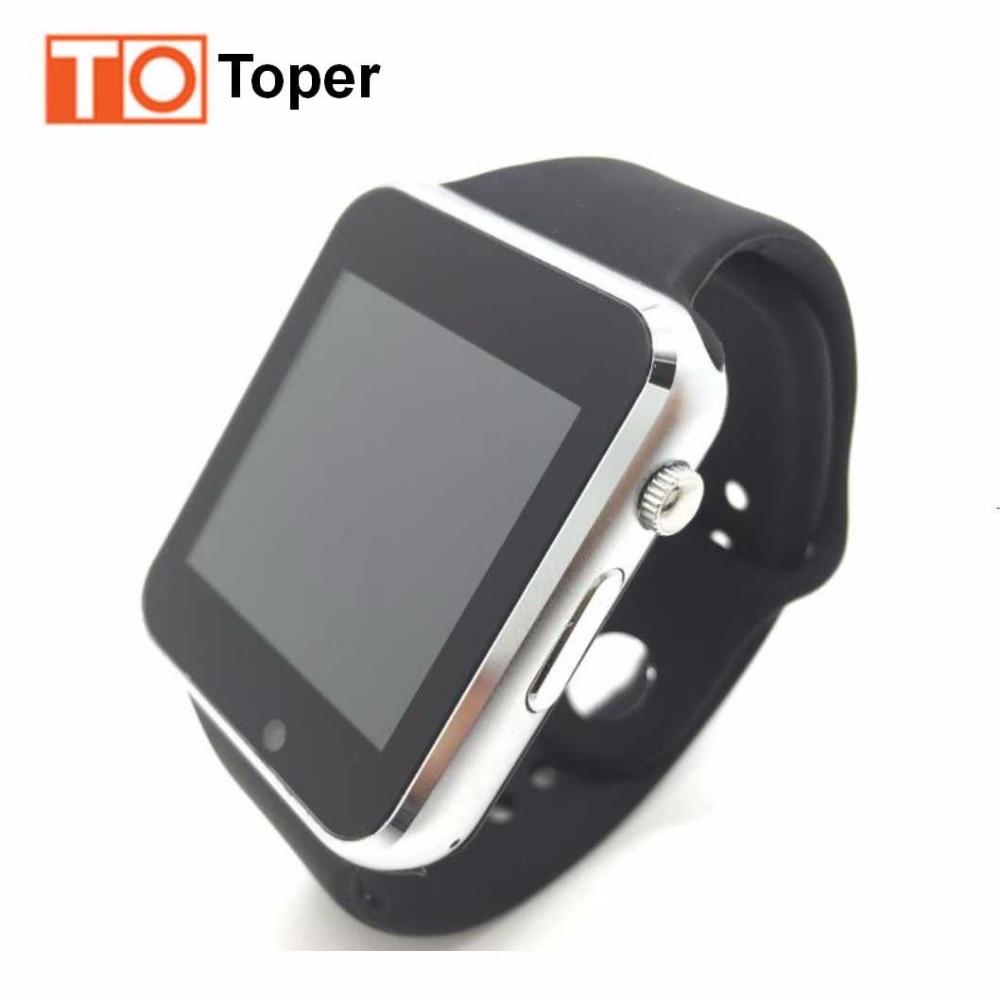 imágenes para Toper smart watch en reloj de pulsera bluetooth para android para samsung huawei sony inglés sim tf tarjeta de registro de sueño Stock