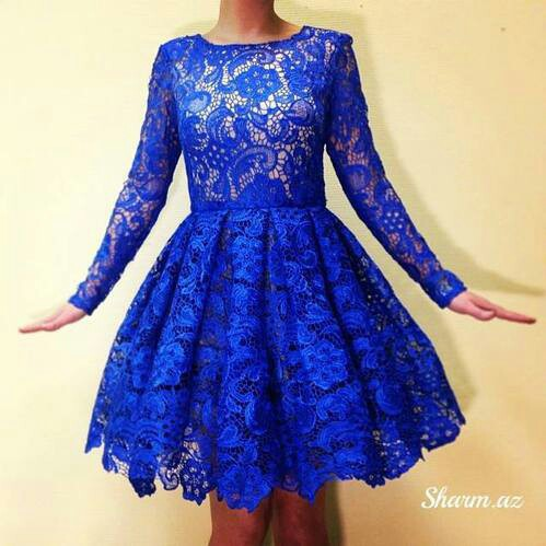 cba1f971c40 Charming Royal Blue Lace Long Sleeves Short Party Dress A Line Round Neck  Cocktial Gowns Custom Made 2015