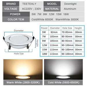 Image 2 - 10 pcs lot Dimmable Waterproof LED Down lights 5W 7W 9W 12W 15W 18W LED Downlight  Outdoor Leds Ceiling Lamp For Bathroom Bulb