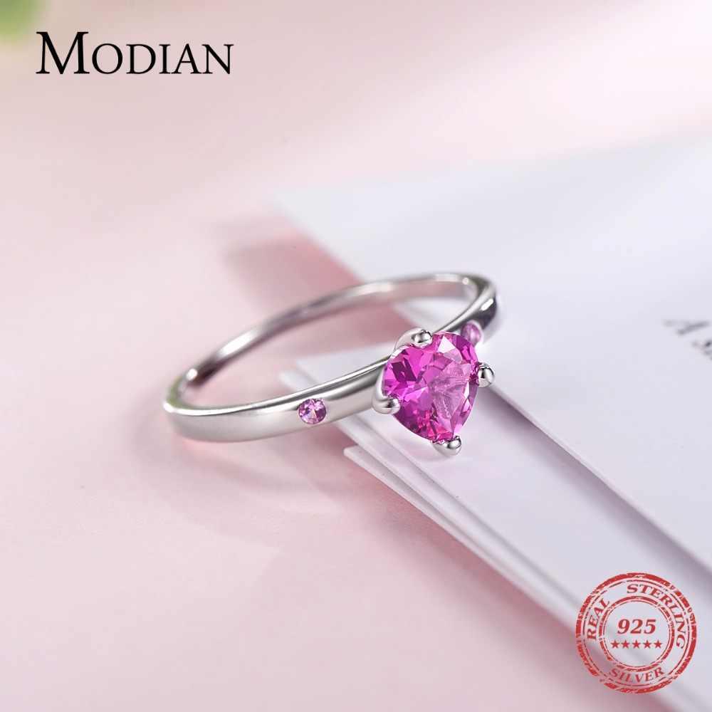 MODIAN حقيقية 925 فضة رومانسية خاتم القلب الأحمر تشيكوسلوفاكيا خواتم الاصبع للنساء الزفاف الذكرى مجوهرات آنيل