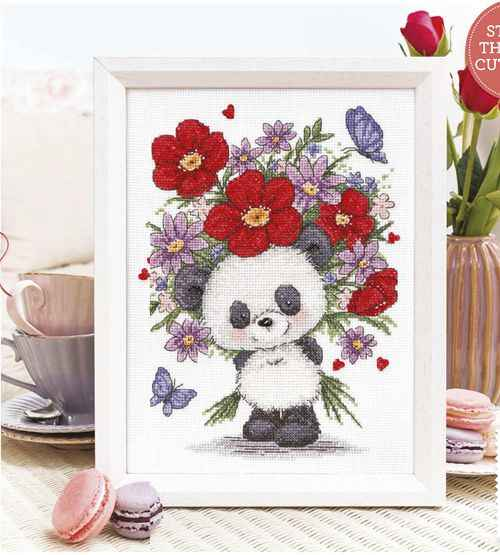 Gold Collection Lovely Counted Cross Stitch Kit Panda and Flowers Flower