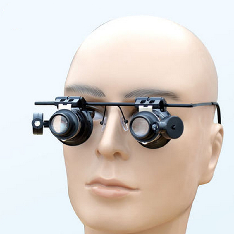 New Metal frame 20x magnifying with led light binocular magnifier lens jewelry loupe Eye for watchmaker repair
