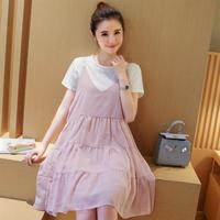 Summer Slimming Patchwork Maternity Dresses Set T-shirt+Slip Dress Loose Expectant Mother Casual Dress Pregnant Women Clothes
