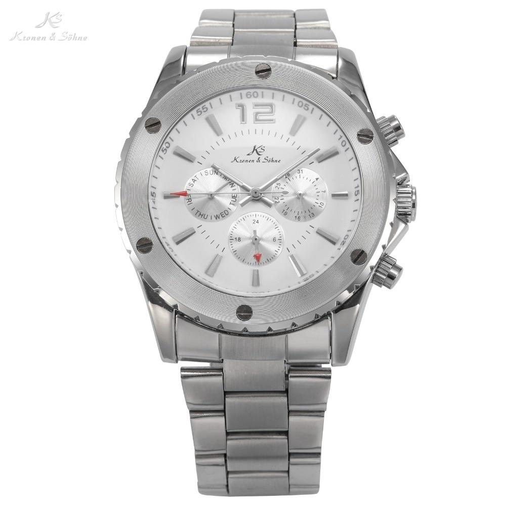 Classic KS Silver White Analog Automatic Mechanical 6 Hands Date Day Stainless Steel Running Wrist Men's Sport Watch Gift/ KS051 тонарм scheu analog scheu classic mkii 10