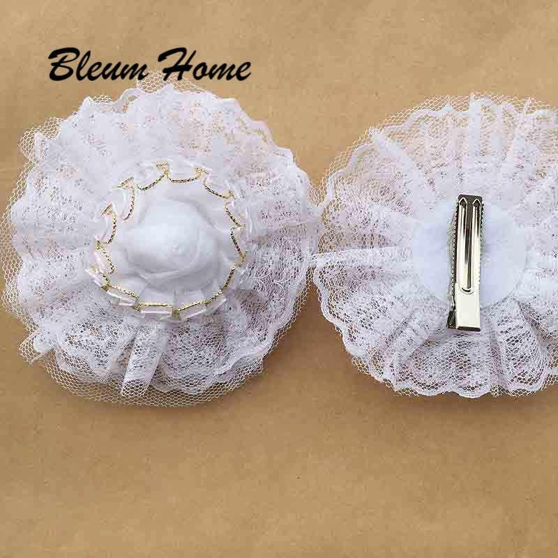 2 cái Bleum Nhà 20 loại hoa trắng BarretteHairpin ren lụa handmade flower Tóc Clip Headband Phụ Kiện dành cho Cô Gái