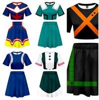 Boku no My Hero Academia Cosplay Izuku Midoriya Costume OCHACO URARAKA Dress Asui Tsuyu Top Skirt Todoroki Shoto Cosplay Costume