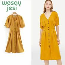 women dress stylish solid yellow dress buttons short sleeve V neck female cute summer casual wear dresses vestidos цены