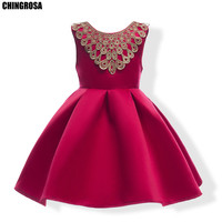 b5d08c7dec CHINGROSA Baby Girls Dress Lolita Flowers Embroidery Bow Cute Dress Garment  Holiday Dresses Children Clothing Costume
