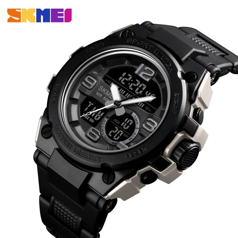 SKMEI NEW Watch Men Sport 5Bar Waterproof Men Wristwatch Dual Display Digital PU Strap Quartz Watch Reloj Mujer 1452