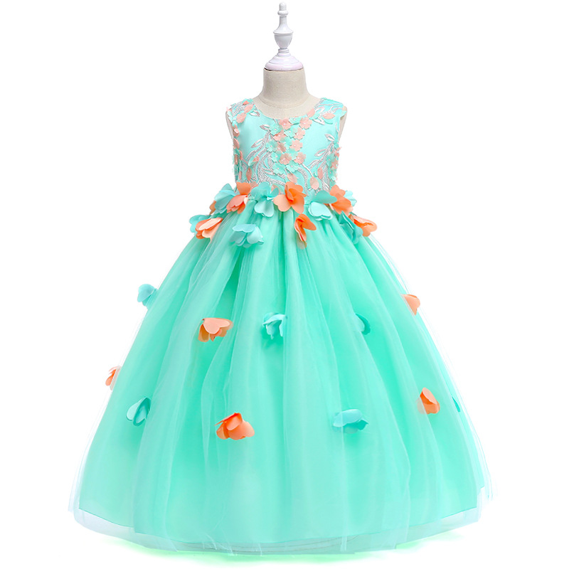 Beautiful Long Wedding Kids <font><b>Party</b></font> <font><b>Dresses</b></font> Girls Flower Sleeveless Puffy Children Formal <font><b>Dress</b></font> for 4 To 12 <font><b>13</b></font> 14 15 <font><b>Years</b></font> <font><b>Old</b></font> image