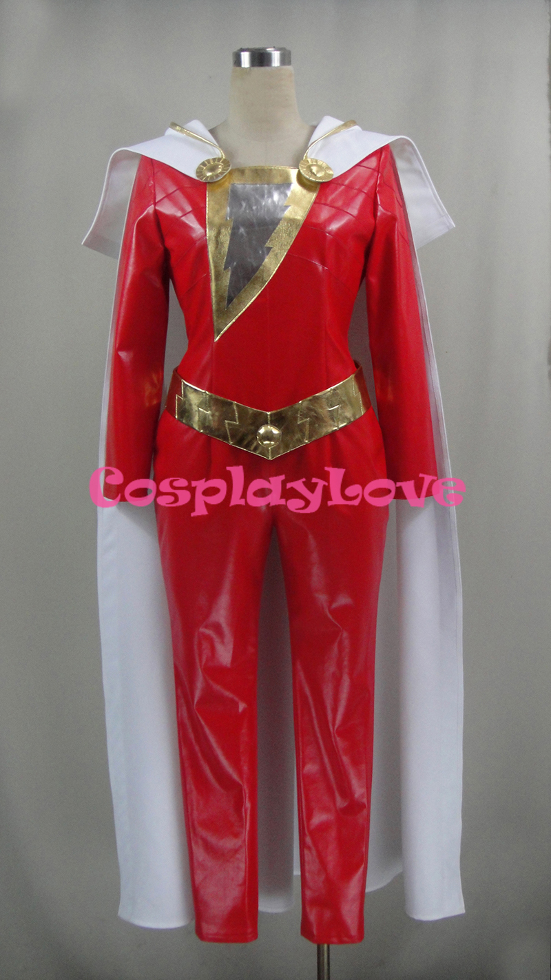 Captain Marvel Costume Cosplay Shazam Billy Batson Jumpsuit Movie Suit Superhero Cosplay Costume PU Custom Made CosplayLove