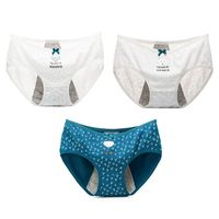Women Teens Girls High Waist Cotton Menstrual Sanitary Underwear Cute Cartoon Animal Fox Printed Briefs Bowknot Decor Leakproof