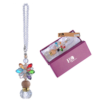 10 FengShui Crystal Flower Car Pendant Round Perfume Bottle Hang Decor Ornaments Car Hanging Accessories Security