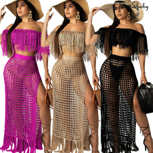 Womens Off Shoulder Cover Up See-through Hollow Sleeveless Tassel Summer Bathing Suit Solid Bikinis 2Pcs Swimwear Swimsuit