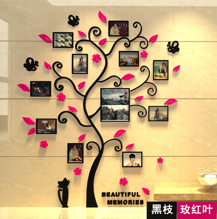 3 d stereoscopic wall stickers acrylic crystal sitting room sofa photos  tree stickers household adornment bedroom