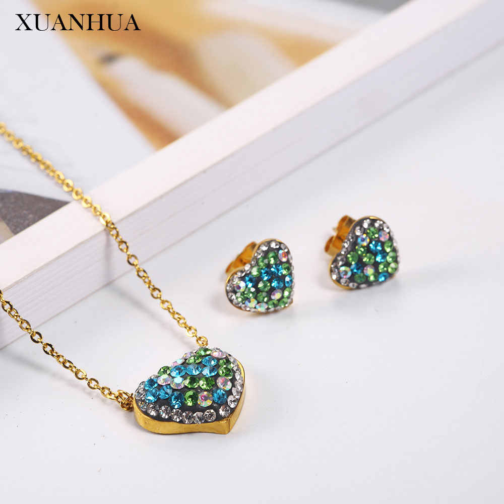 XUANHUA Stainless Steel Jewelry Sets Heart Necklace Earrings Set Woman Vogue 2019 Jewelry Accessories Bohemian Mass Effect