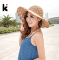Venta caliente de la manera mujeres del verano del sol-shading del sombrero anti-ultravioleta grande ala del sombrero del sol casquillo de la playa del strawhat del sombrero de las muchachas compras libres