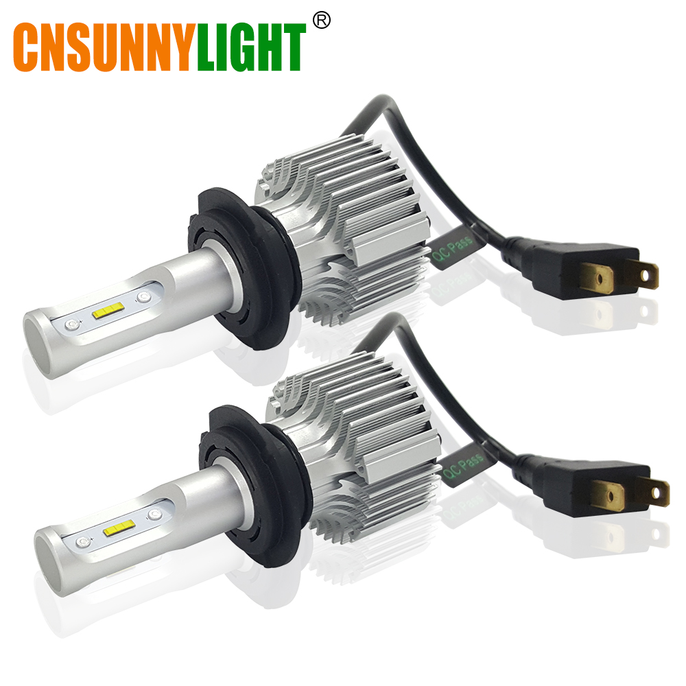 CNSUNNYLIGHT Car LED Headlight Bulb H7 H4 H11 H8 9005 9006 H1 H3 880 H13 9004 9007 w/Clear Lighting Line 8500LM White DC 12V 24V