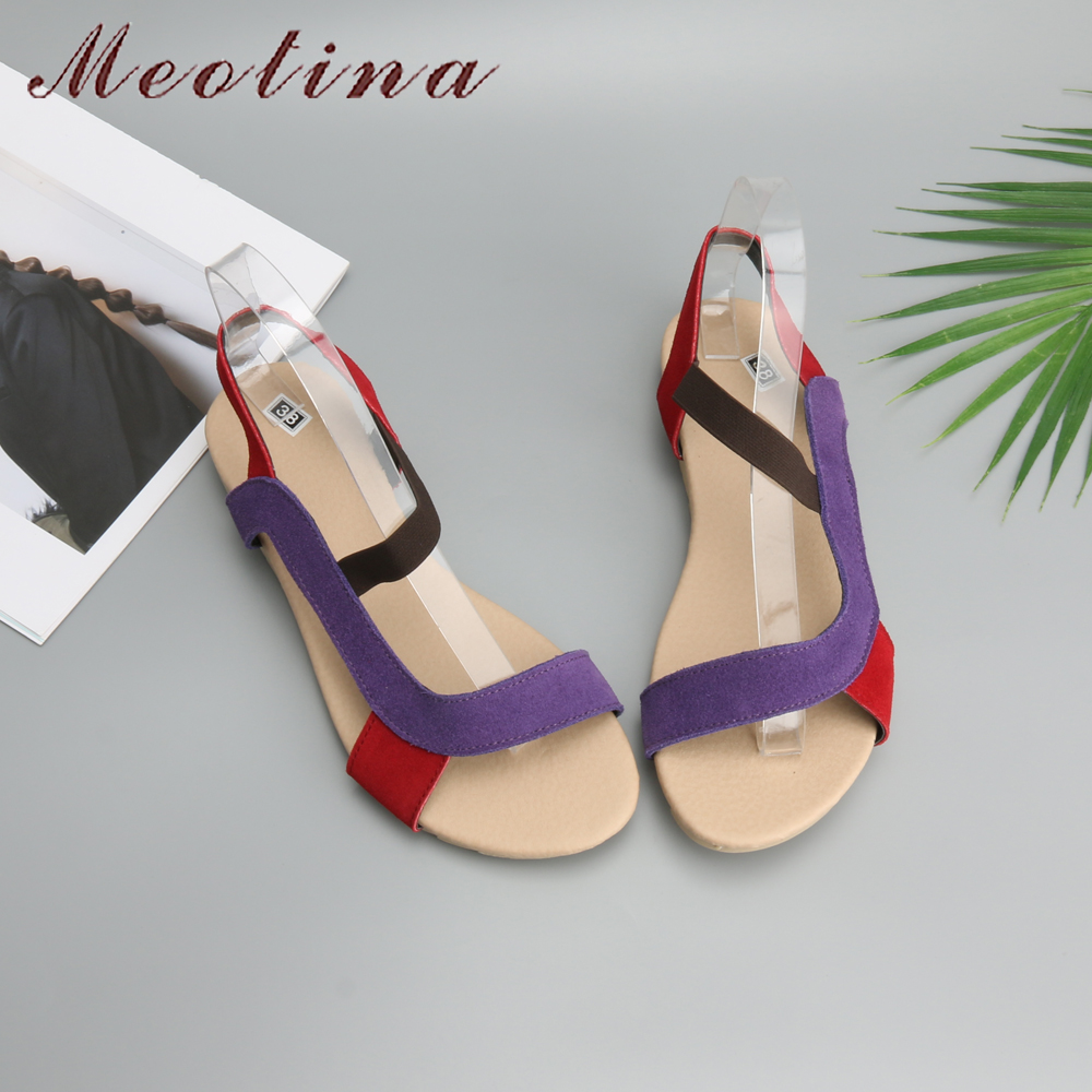 Meotina Women Sandals 2018 Summer Genuine Leather Sandals Slippers Fisherman Bohemia Beach Flats Women Shoes Flat Red Size 9 10