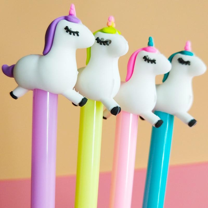 60PCS/SET Creative Cartoon Unicorn Neutral Pen Students Writing Office Japanese and Korean Girl Heart