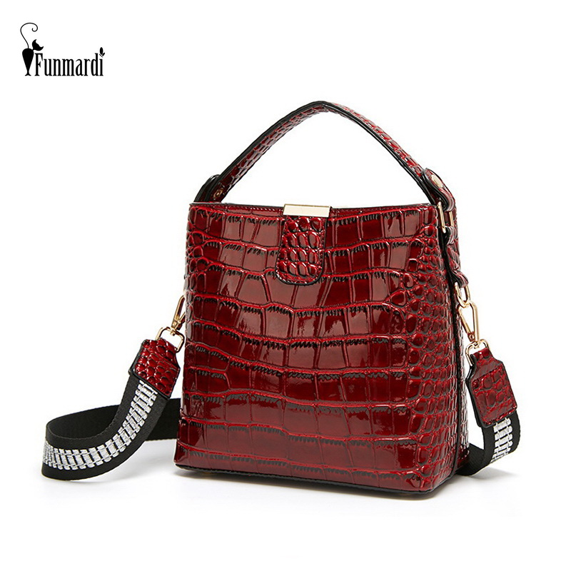 FUNMARDI Crocodile Patent Leather Shoulder Bags Luxury Handbag Women Bags Designer Crossbody Bags Brand Bucket Bag Tote WLHB1961