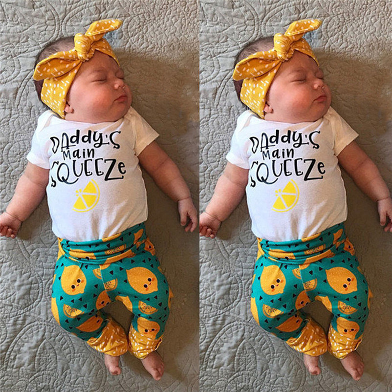 2018 Summer New Newborn Kids Baby Girls Cotton Papa s hand squeeze Romper + Orange Long Pants Leggings Outfits Set Clothes P5