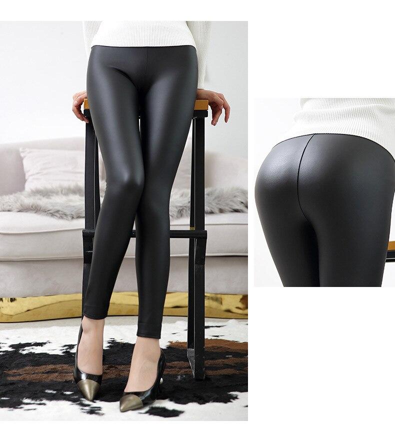 everbellus leggings de couro de cintura alta para mulher preto luz mate fino e grosso femme