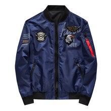 Men's Bomber Jacket Casual Pilot Jackets Men Outwear Both Si
