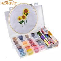 32pcs Magic Embroidery Stitching Punch Floss Cross Stitch Threads 20mm Hoop Punch DIY Embroidery Punch Crafts Tool Kit with Case
