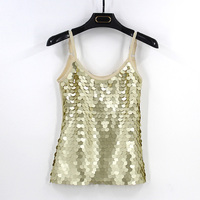 Women 2017 Fashion Sexy Backless Vest Fitness Cropped Summer Tank Top Gold Sequins Cute Teen Girls