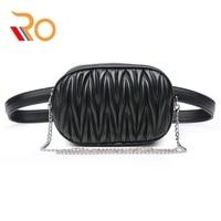 Pleated Waist Bags Women Belt Bag Chain Shoulder Crossbody Bag PU Leather Fanny Pack For Women Chest Bag