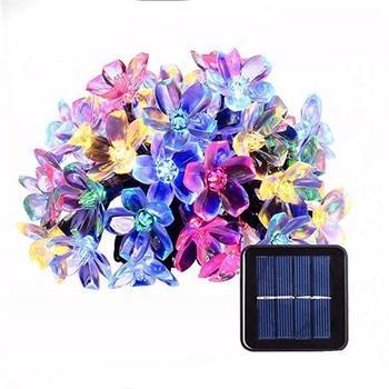 5m 7m 12m 22m Flor De Melocotón Lámpara Solar De Energía LED Cadena Luces De Hadas 6V Guirnaldas Solares Jardín Decoración De Navidad Para Exterior
