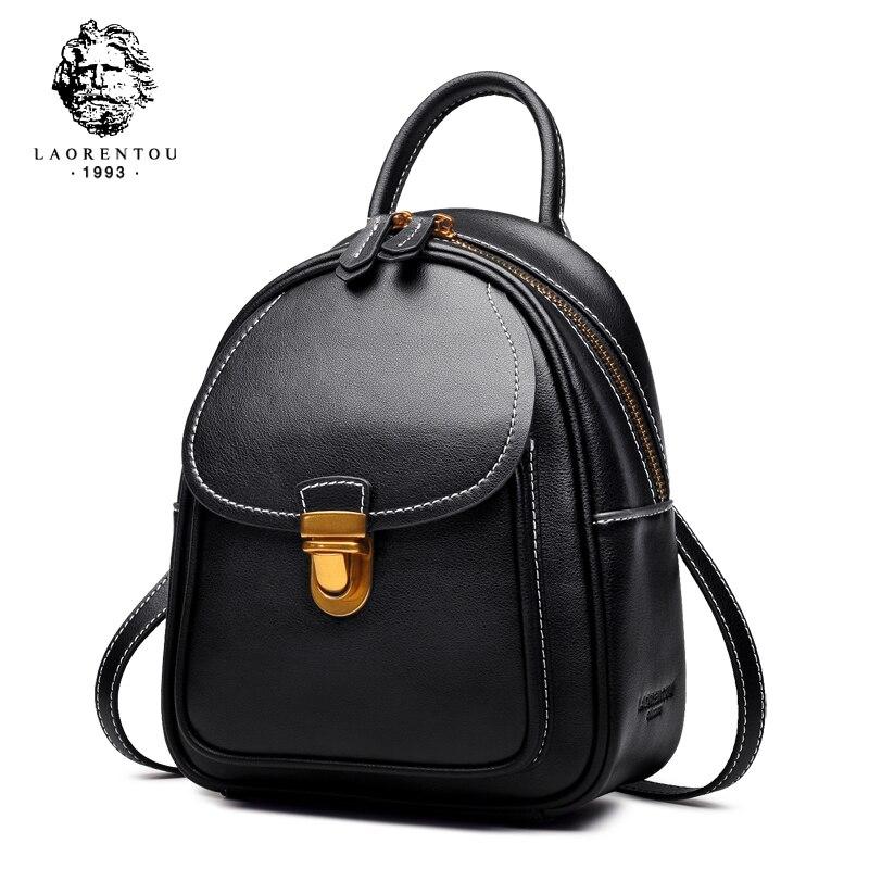 Laorentou 여성 배낭 숙녀 캐주얼 학교 가방 여성 정품 암소 가죽 배낭 패션 어깨 가방 틴 에이저 걸스-에서백팩부터 수화물 & 가방 의  그룹 1