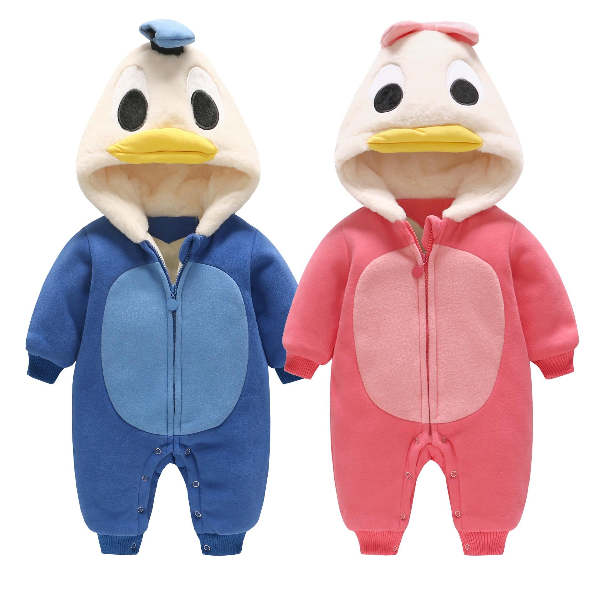 Nouveau-né barboteuses 2019 hiver chaud vêtements 3 9 6 12 mois bébé enfants garçons filles coton nouveau-né mignon canard infantile vêtements