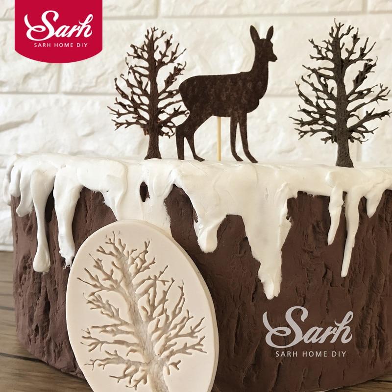 Bosque tree fondant cake sugarcraft moldes del molde del chocolate de la hornada