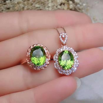 SHILOVEM 925 silver sterling peridot pendants rings send necklace classic wholesale Fine women gift plant party new jctz081099ag