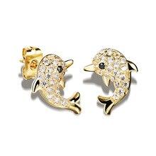 Woman's Dolphin Design Stud Earrings Romantic Women Jewelry Gift Push-Back Earring KE643