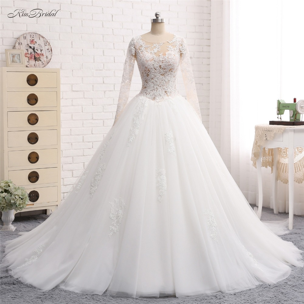 New Arrival Long Wedding Dress 2018 Scoop Neck Long