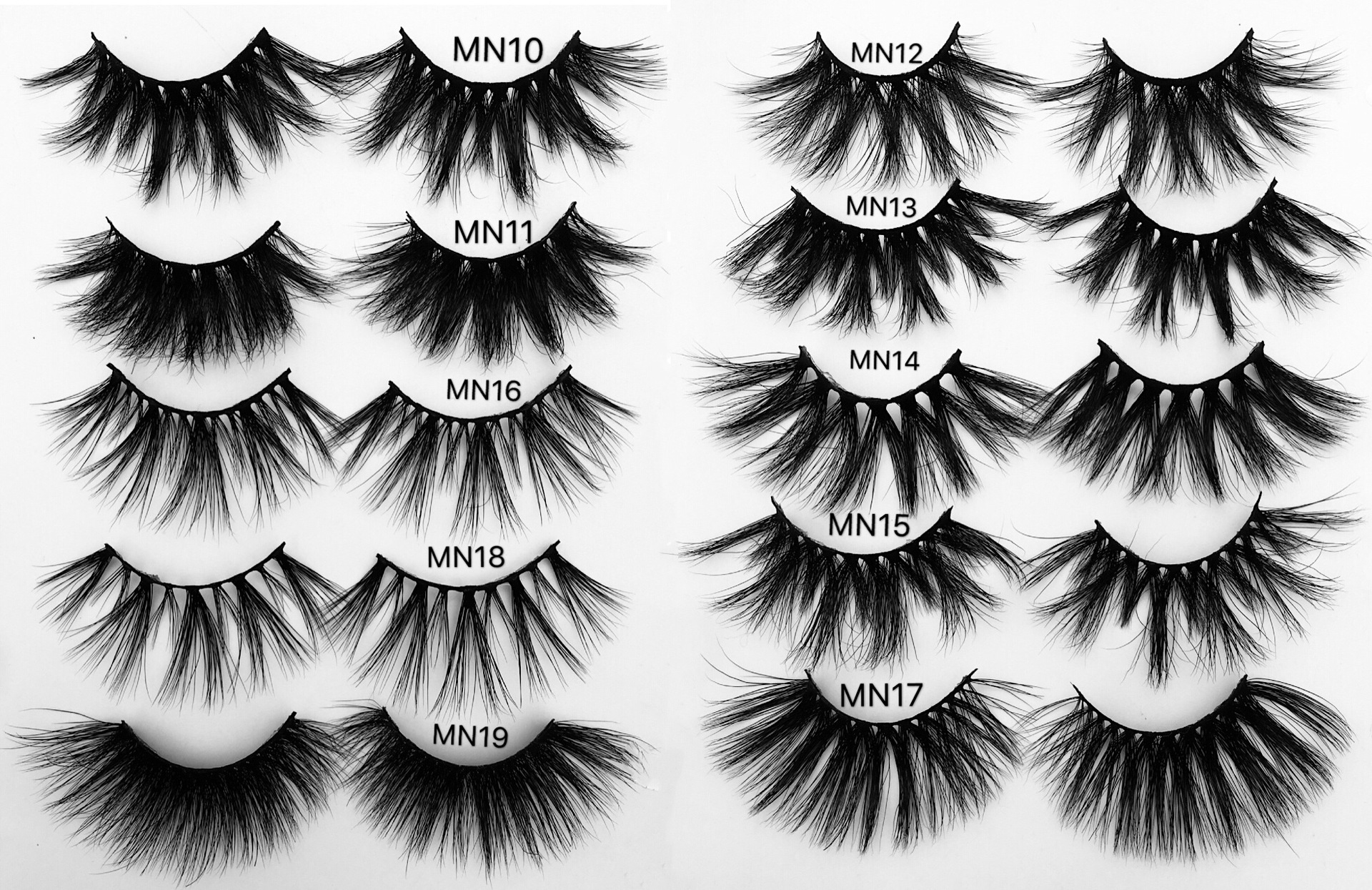 25mm 27mm Extrac Long Lashes 3D Mink Hair False Eyelashes Long Wispies Fluffy Multilayers Eyelashes Cruelty-free Extension MN11