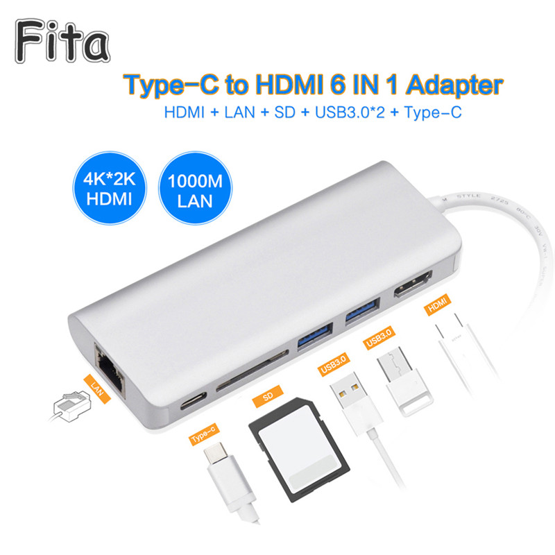 6 in1 USB C Multiport Type C Cable HDMI 4K USB 3.0 SD RJ45 Gigabit Ethernet PD Charging Docking Station Port Adapter for MacBook цена