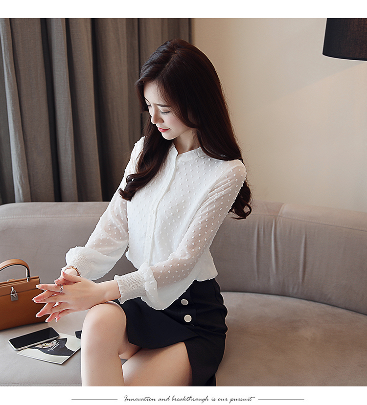 19 New arrived women shirt sweet female V collar wave point long-sleeved suntan women blouse Korean style OL blusa 0974 30 12