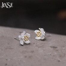 JINSE Cute S925 Silver Flower Stud Earrings Ladies Birthday Gifts Gold Color Earring For Women Fashion Ear Jewelry 9MM