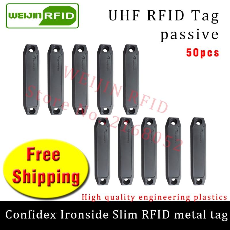 UHF RFID anti-metal tag confidex ironside slim 915m 868m Impinj Monza4QT 50pcs free shipping durable ABS smart passive RFID tags