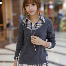 New Style Women Spring Autumn Casual Style Shirt  Women False Two Pieces Cotton Grid Long Sleeveed Shirt