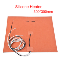 220V 300W Silicone Heater 300*300mm Heating pad NTC 100K Thermistor with M3 sticker for 3d printer Heat bed