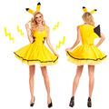 Adult Animals Cosplay Clothing Halloween Yellow Pikachu Role-Playing Sexy Dresses Halloween Masquerade Party Women Cute Cosplay