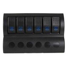 6 Gang Car Marine Caravan Rocker Switch Panel With blue LED Indicator Circuit Breaker Overload Protected, 12v 24v/ switch