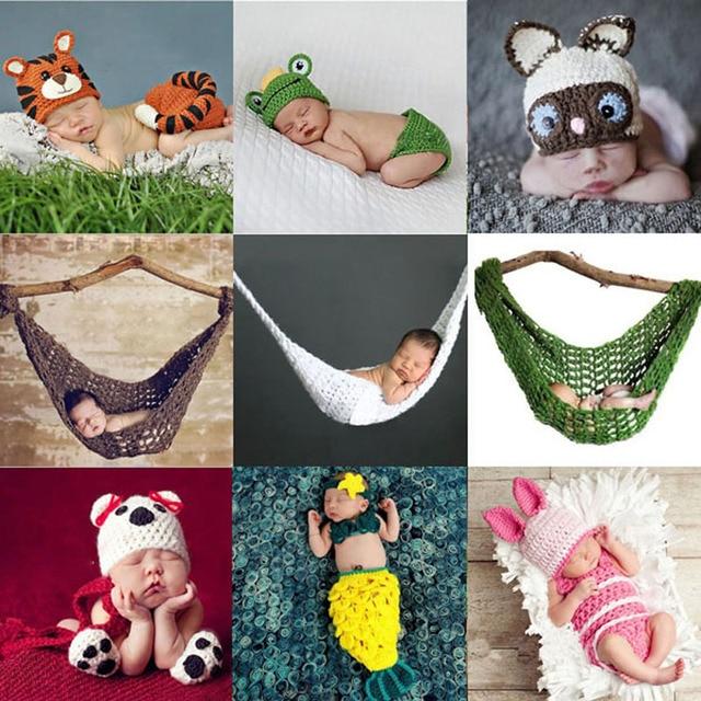 Baby Niedlichen Tier Hut Set Neugeborenen Häkeln Stricken Kleidung
